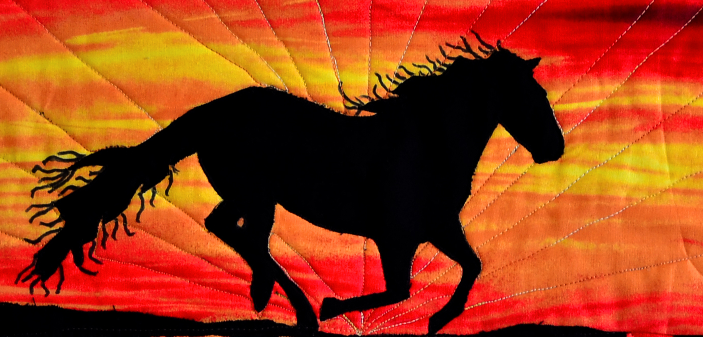 Black Stallion Running Wild On A Sunset Beach Quilted Wall Hanging